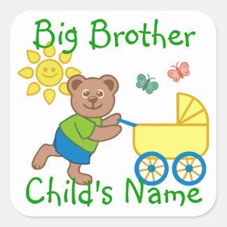 Sticker Carré Poussette mignonne personnalisée d'ours de frère
