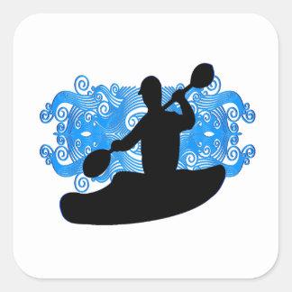 Sticker Carré Précipitation de kayak