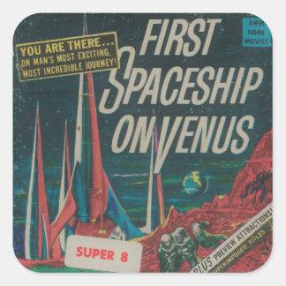 Sticker Carré Premier vaisseau spatial sur le film vintage de