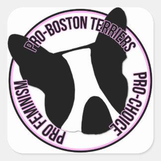 Sticker Carré Pro terriers de Boston, le pro féminisme, pro
