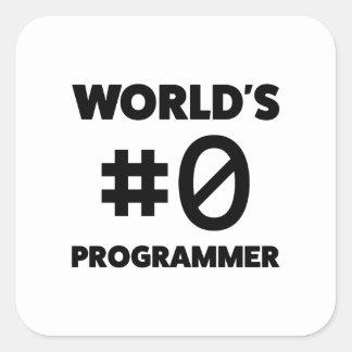 Sticker Carré Programmeur du #0 du monde