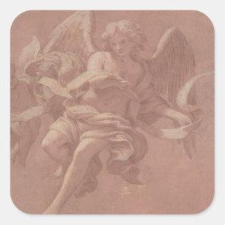 Sticker Carré Putto et ange tenant une banderole