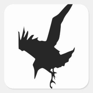 Sticker Carré Raven un oiseau de Halloween de proie