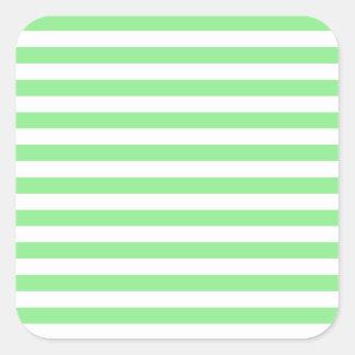 Sticker Carré Rayures minces - blanches et vert clair