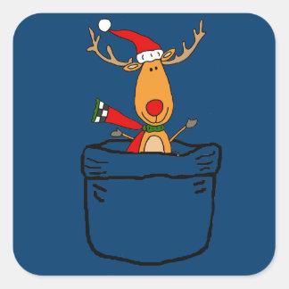 Sticker Carré Renne drôle dans une bande dessinée de Noël de