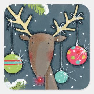 Sticker Carré Renne lumineux de Noël