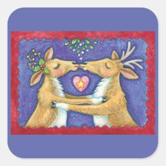 Sticker Carré Renne mignon de Noël, gui romantique du baiser W