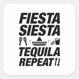 Sticker Carré Répétition de tequila de sièste de fiesta