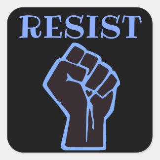 Sticker Carré Résistez à l'anti atout de poing bleu et noir