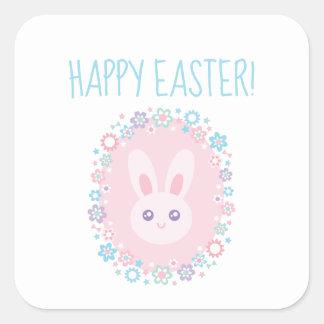 Sticker Carré Ressort mignon heureux de lapin de bébé de Pâques