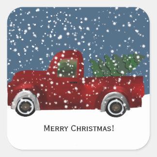 Sticker Carré Rétro arbre vintage rouge de camion et de Noël