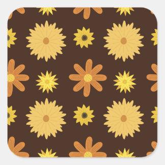 Sticker Carré Rétro motif floral de jaune orange de Brown des