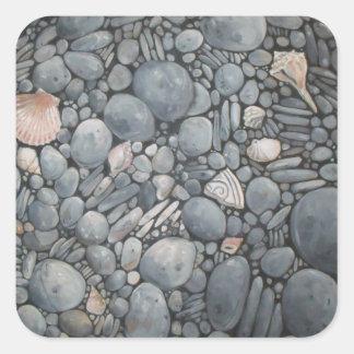 Sticker Carré Roches de cailloux de plage de pierres