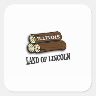 Sticker Carré Rondins de l'Illinois de Lincoln
