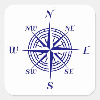 Sticker Carré Rose de boussole côtier de bleu marine