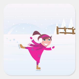 Sticker Carré Rose d'enfant de patinage de glace