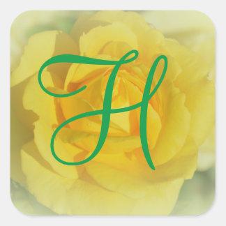 Sticker Carré rose jaune du monogramme 3d