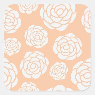 Sticker Carré Roses blancs