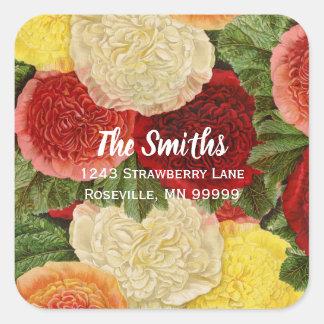 Sticker Carré Roses jaunes roses blancs rouges vintages
