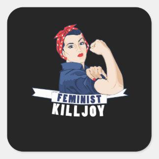 Sticker Carré Rosie féministe de trouble-fête le rivoir