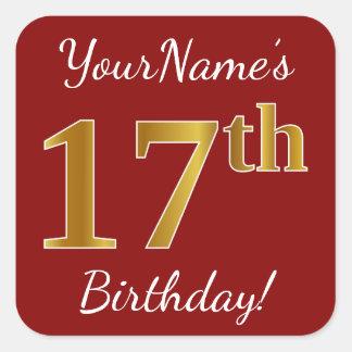Sticker Carré Rouge, anniversaire d'or de Faux 17ème +