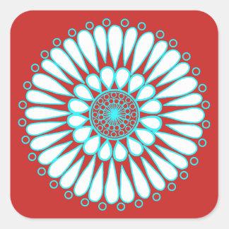 Sticker Carré Rouge - double mandala de tournesol de glace
