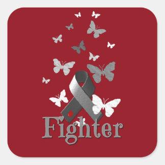 Sticker Carré Ruban de conscience de diabète de combattant