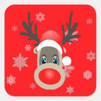 Sticker Carré Rudolf - renne de Noël