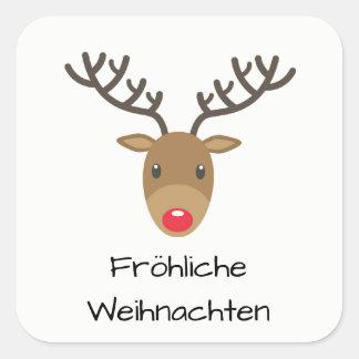 Sticker Carré Rudolph le renne Fröhliche Weihnachten