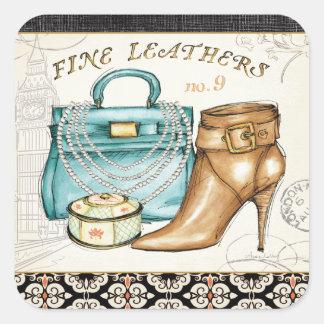 Sticker Carré Sac en cuir et chaussure fins