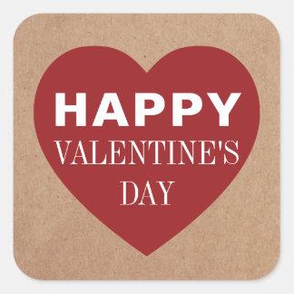 Sticker Carré Saint-Valentin rouge fraîche simple de blanc de