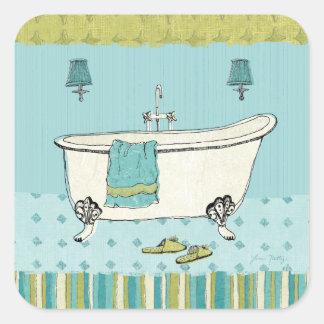 Sticker Carré Salle de bains bleue démodée
