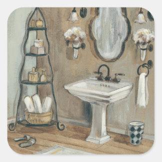 Sticker Carré Salle de bains française avec le miroir et l'évier