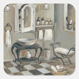 Sticker Carré Salle de bains française carrelée noire et blanche