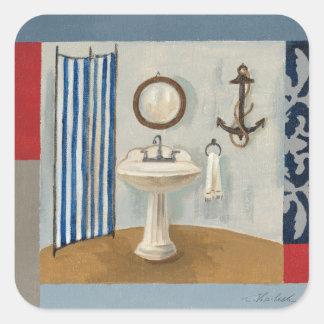 Sticker Carré Salle de bains orientée nautique