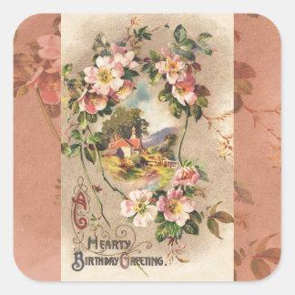 Sticker Carré Salutation vintage de carte de joyeux anniversaire