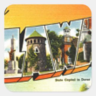 Sticker Carré Salutations du Delaware