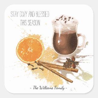 Sticker Carré Salutations oranges de saison de cannelle de