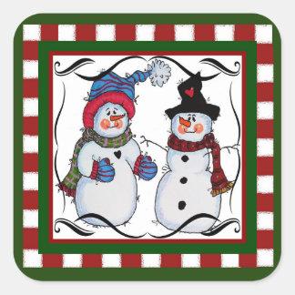Sticker Carré Sammy l'autocollant de bonhomme de neige