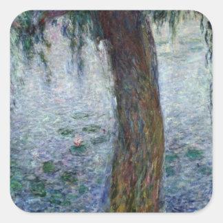 Sticker Carré Saules pleurants de nénuphars de Claude Monet |
