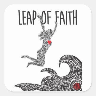 Sticker Carré Saut du saut sautant de femme d'autocollant de foi