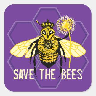 Sticker Carré Sauvez les abeilles