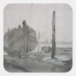Sticker Carré Scène de rivière de John Constable   avec le