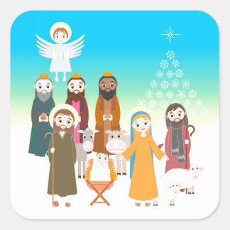 Sticker Carré Scène douce de nativité pour des enfants
