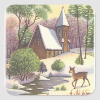 Sticker Carré Scène vintage de Noël, paysage de Milou avec des
