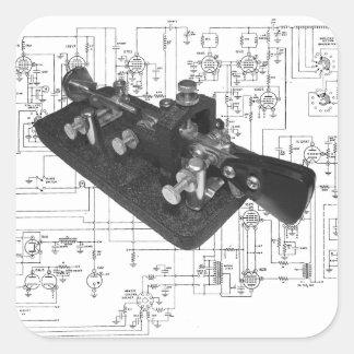 Sticker Carré Schéma principal par radio de code Morse