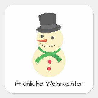 Sticker Carré Schneemann Fröhliche Weihnachten