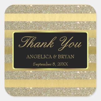 Sticker Carré Scintillement et rayures d'or épousant