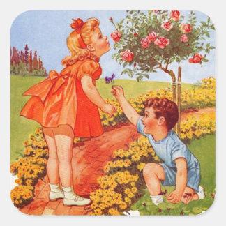 Sticker Carré Sentez les roses