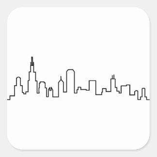 Sticker Carré Série d'horizon de Chicago